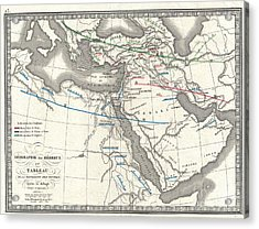 1839 Monin Map Of The Hebrew Peoples Dispersal After The Flood Acrylic Print by Paul Fearn