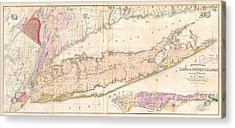 1842 Mather Map Of Long Island New York Acrylic Print by Paul Fearn
