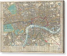 1848 Crutchley Pocket Map Or Plan Of London Acrylic Print by Paul Fearn
