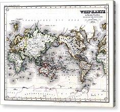 1850 Antique World Map Welt Karte In Mercators Projektion Acrylic Print by Karon Melillo DeVega