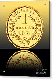 1851 1 Dollar Rare Charlotte Gold Acrylic Print by Jim Carrell