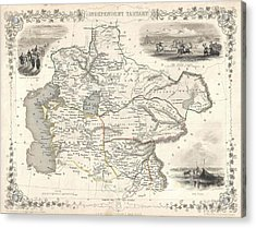 1851 Asia Map Acrylic Print by Dan Sproul
