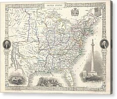 1851 Tallis And Rapkin Map Of The United States Acrylic Print by Paul Fearn