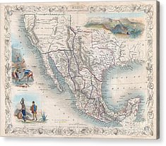 1851 Tallis Map Of Mexico Texas And California  Acrylic Print by Paul Fearn