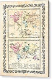 1855 Antique First Plate Ortelius World Map Animal Kingdom World Commerce And Navigation Acrylic Print by Karon Melillo DeVega