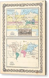 1855 Antique World Maps Illustrating Principal Features Of Meteorology Rain And Principal Plants Acrylic Print by Karon Melillo DeVega