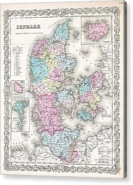 1855 Colton Map Of Denmark Acrylic Print by Paul Fearn