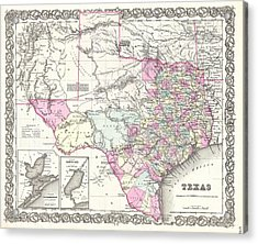 1855 Colton Map Of Texas Acrylic Print by Paul Fearn