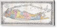 1857 Colton Travellers Map Of Long Island New York Acrylic Print