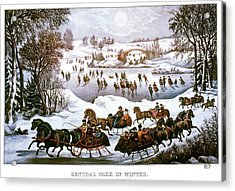 1860s Central Park In Winter - New York Acrylic Print