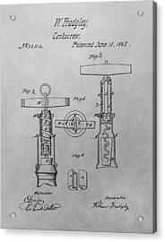 1862 Corkscrew Patent Drawing Acrylic Print
