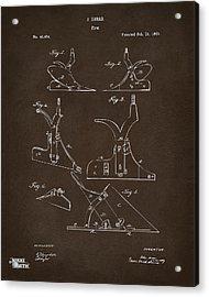 1865 John Deere Plow Patent Espresso Acrylic Print