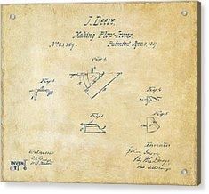 1867 John Deere Plow Irons Patent Vintage H Acrylic Print