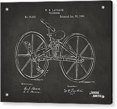1869 Velocipede Bicycle Patent Artwork - Gray Acrylic Print by Nikki Marie Smith