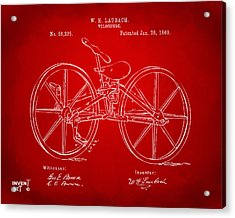 1869 Velocipede Bicycle Patent Artwork Red Acrylic Print by Nikki Marie Smith