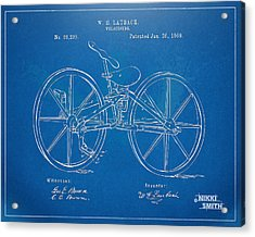 1869 Velocipede Bicycle Patent Blueprint Acrylic Print by Nikki Marie Smith