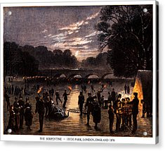 1870 The Serpentine Of London England Acrylic Print by Historic Image