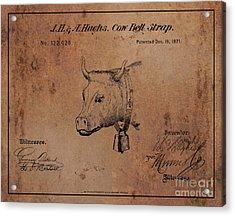 1871 Hughes Cow Bell Strap Patent Art 1 Acrylic Print