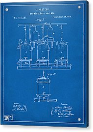 1873 Brewing Beer And Ale Patent Artwork - Blueprint Acrylic Print by Nikki Marie Smith