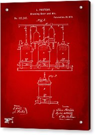 1873 Brewing Beer And Ale Patent Artwork - Red Acrylic Print by Nikki Marie Smith