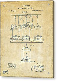 1873 Brewing Beer And Ale Patent Artwork - Vintage Acrylic Print by Nikki Marie Smith