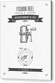 1874 Fishing Reel Patent Drawing Acrylic Print by Aged Pixel