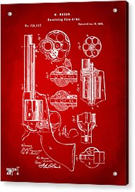 1875 Colt Peacemaker Revolver Patent Red Acrylic Print by Nikki Marie Smith