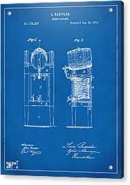 1876 Beer Keg Cooler Patent Artwork Blueprint Acrylic Print by Nikki Marie Smith
