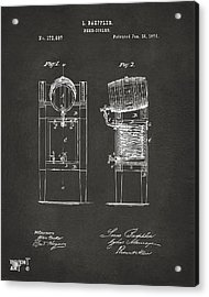 1876 Beer Keg Cooler Patent Artwork - Gray Acrylic Print by Nikki Marie Smith