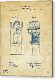 1876 Beer Keg Cooler Patent Artwork - Vintage Acrylic Print by Nikki Marie Smith