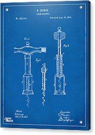1876 Wine Corkscrews Patent Artwork - Blueprint Acrylic Print by Nikki Marie Smith