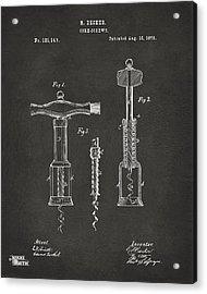 1876 Wine Corkscrews Patent Artwork - Gray Acrylic Print by Nikki Marie Smith