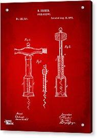 1876 Wine Corkscrews Patent Artwork - Red Acrylic Print by Nikki Marie Smith