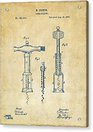 1876 Wine Corkscrews Patent Artwork - Vintage Acrylic Print by Nikki Marie Smith