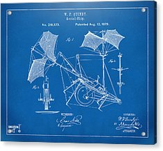 1879 Quinby Aerial Ship Patent - Blueprint Acrylic Print by Nikki Marie Smith