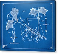 1879 Quinby Aerial Ship Patent Minimal - Blueprint Acrylic Print by Nikki Marie Smith