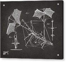 1879 Quinby Aerial Ship Patent Minimal - Gray Acrylic Print by Nikki Marie Smith