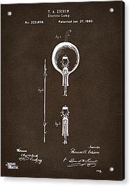 1880 Edison Electric Lamp Patent Artwork Espresso Acrylic Print by Nikki Marie Smith