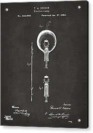 1880 Edison Electric Lamp Patent Artwork - Gray Acrylic Print by Nikki Marie Smith