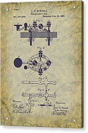 1881 Telegraph Key Patent Art Acrylic Print