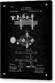 1881 Telegraph Key Patent Art-bk Acrylic Print