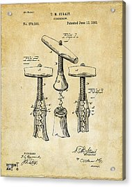 1883 Wine Corckscrew Patent Art - Vintage Black Acrylic Print by Nikki Marie Smith