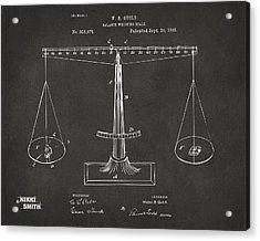 1885 Balance Weighing Scale Patent Artwork - Gray Acrylic Print by Nikki Marie Smith