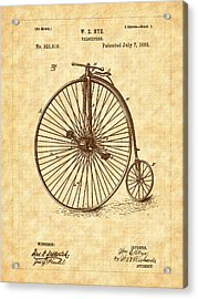 1885 Nye Velocipede Patent Acrylic Print by Barry Jones