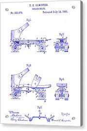 1885 Roller Skate Patent Blueprint Acrylic Print by Jon Neidert
