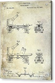 1885 Roller Skate Patent Drawing Acrylic Print