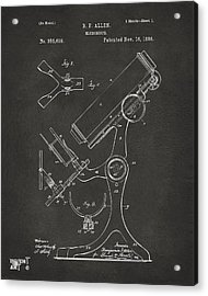 1886 Microscope Patent Artwork - Gray Acrylic Print