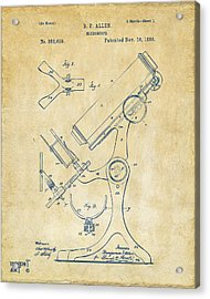 1886 Microscope Patent Artwork - Vintage Acrylic Print by Nikki Marie Smith