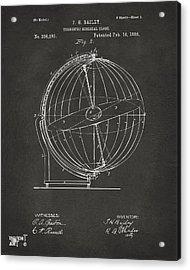 1886 Terrestro Sidereal Globe Patent 2 Artwork - Gray Acrylic Print by Nikki Marie Smith