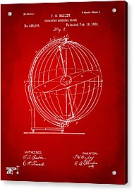 1886 Terrestro Sidereal Globe Patent 2 Artwork - Red Acrylic Print by Nikki Marie Smith